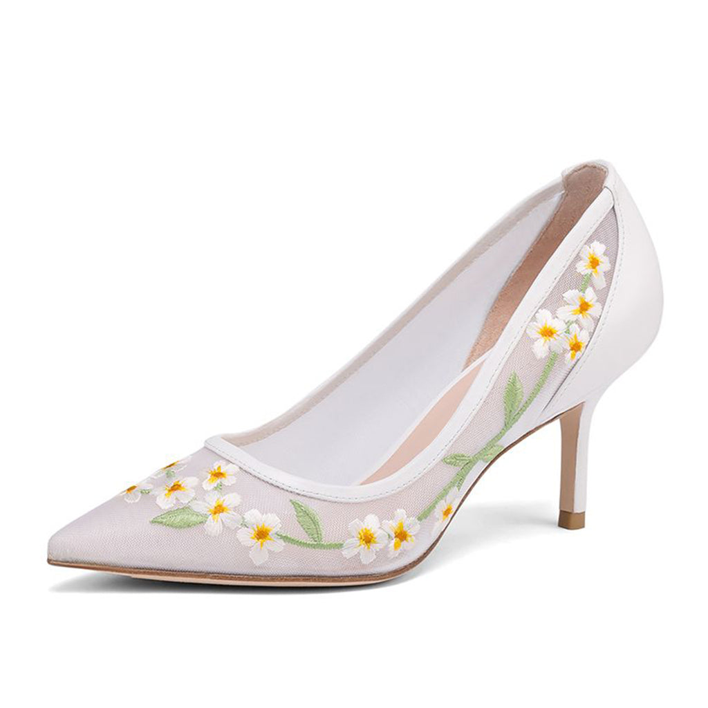 White Flower Nets Pointy Toe Stiletto Heel Pumps