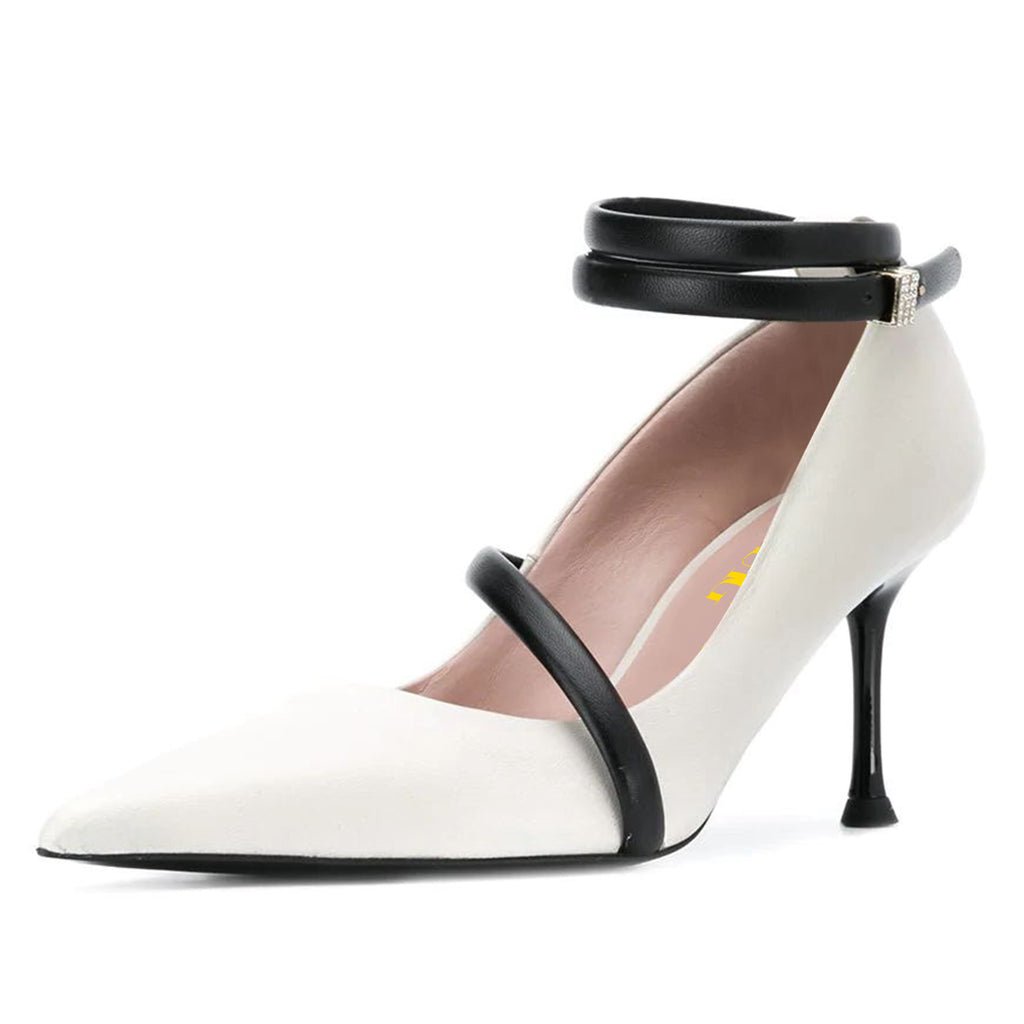 White Office Pointed Toe Ankle Strap Stiletto Heel Pumps