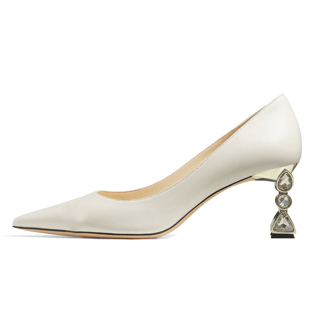 White Rhinestones Pointy Toe Chunky Heel Pumps