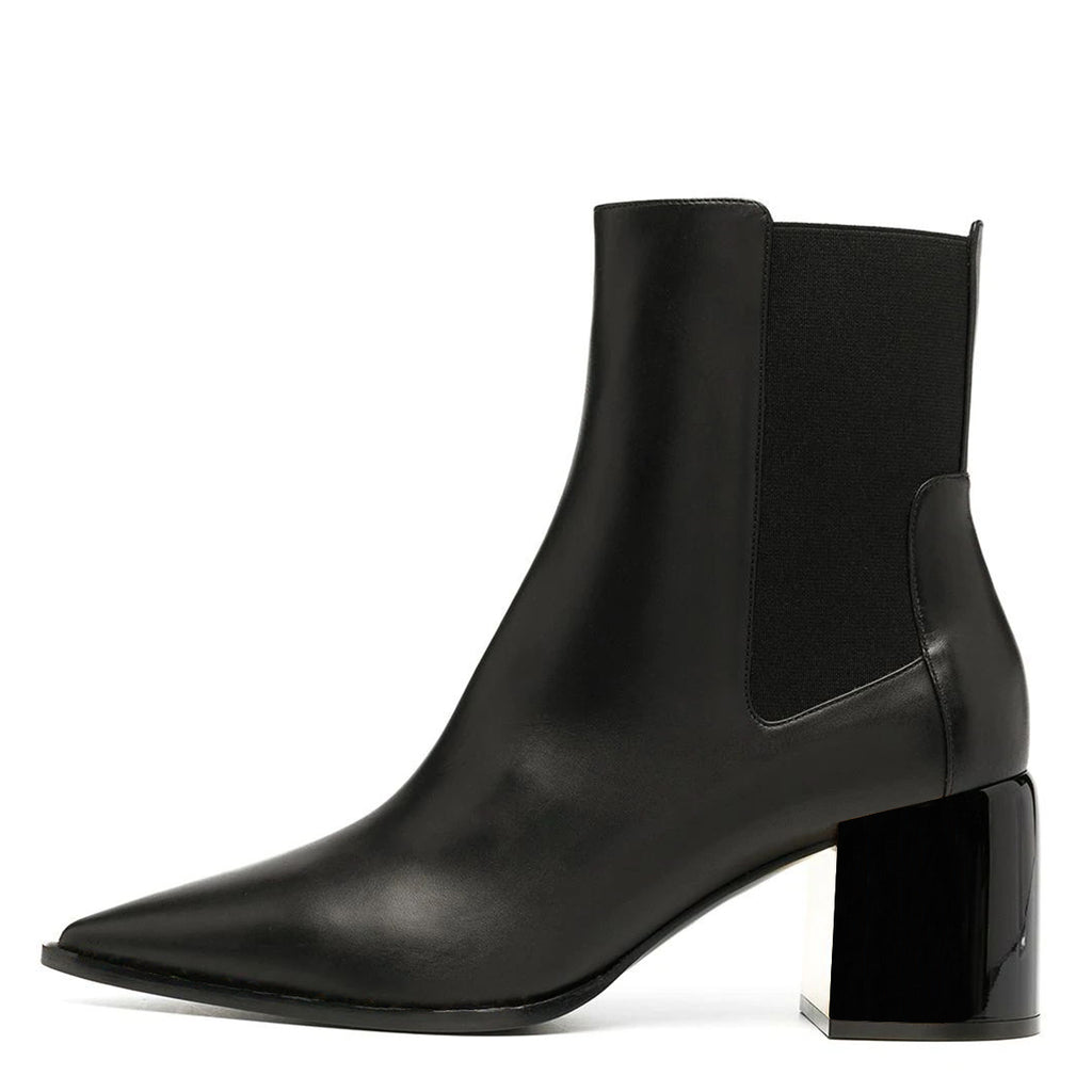 Women's Black Pointy Toe Block Heel Boots