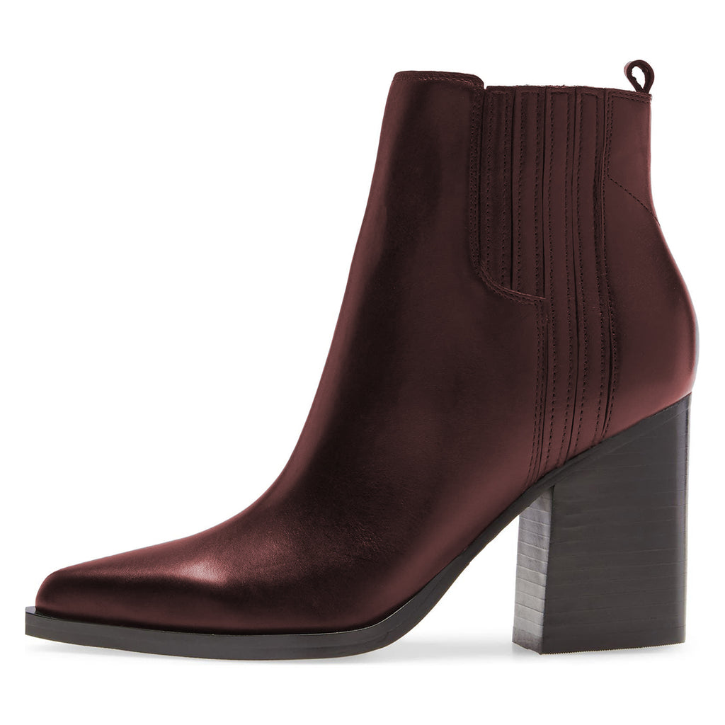Women's Burgundy Block Heel Ankle Boots