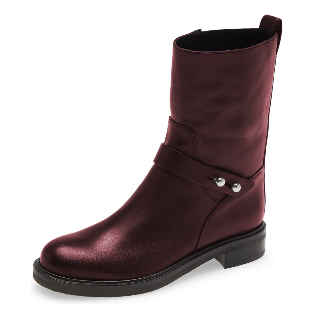 Women's Burgundy Comfortable Flats Boots