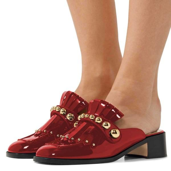 red-mirror-leather-fringe-studs-loafer-mules