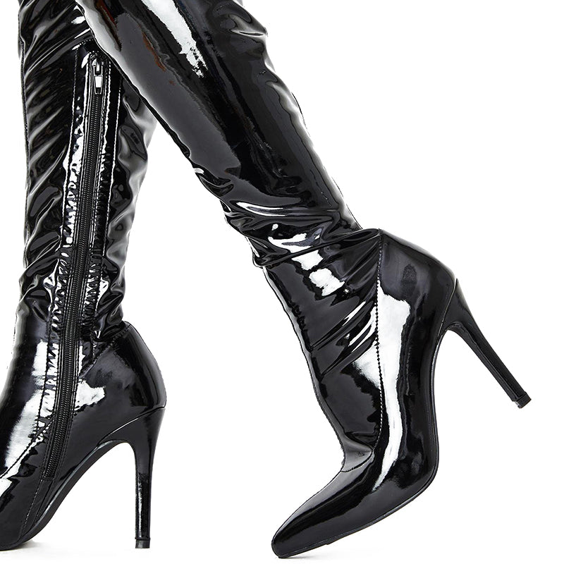 Patent Leather Stiletto Heel Boots #1