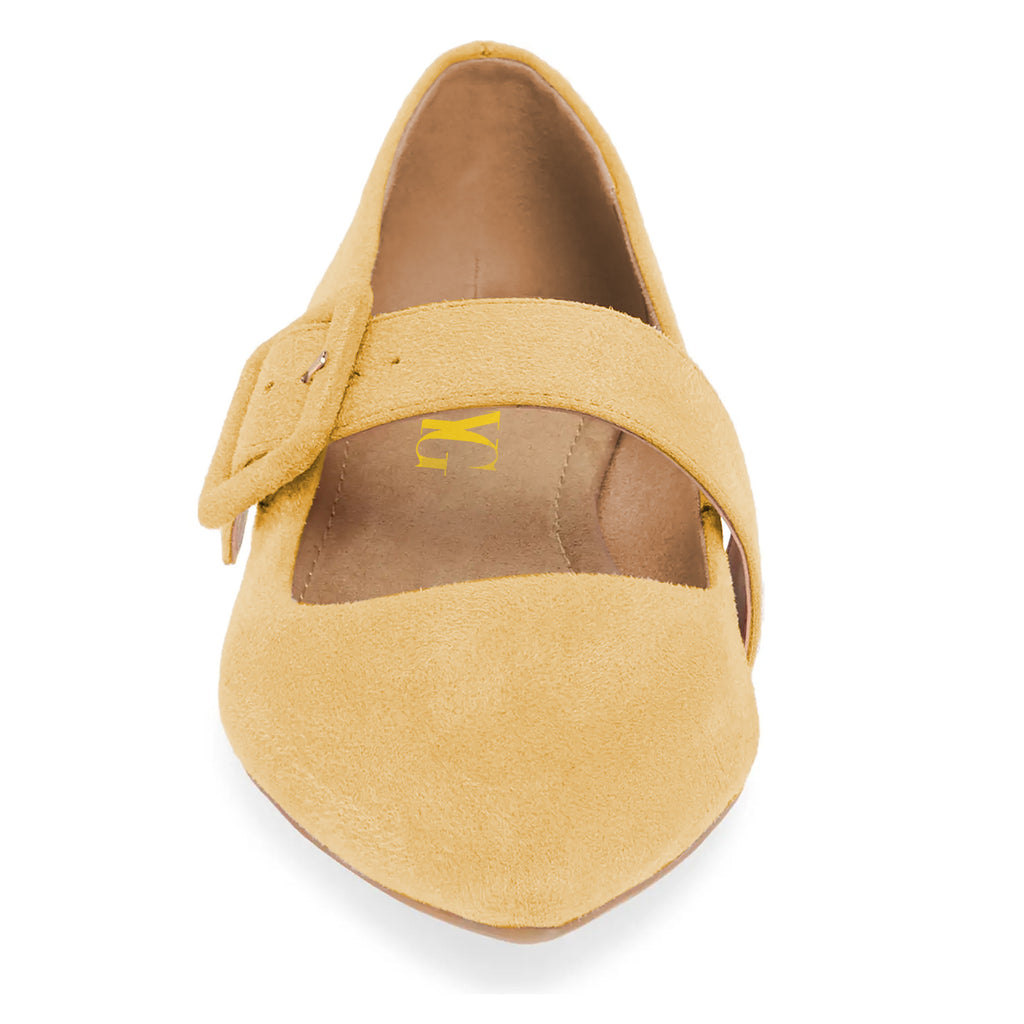 Yellow Buckle Suede Pointed Toe Comfortable Flats