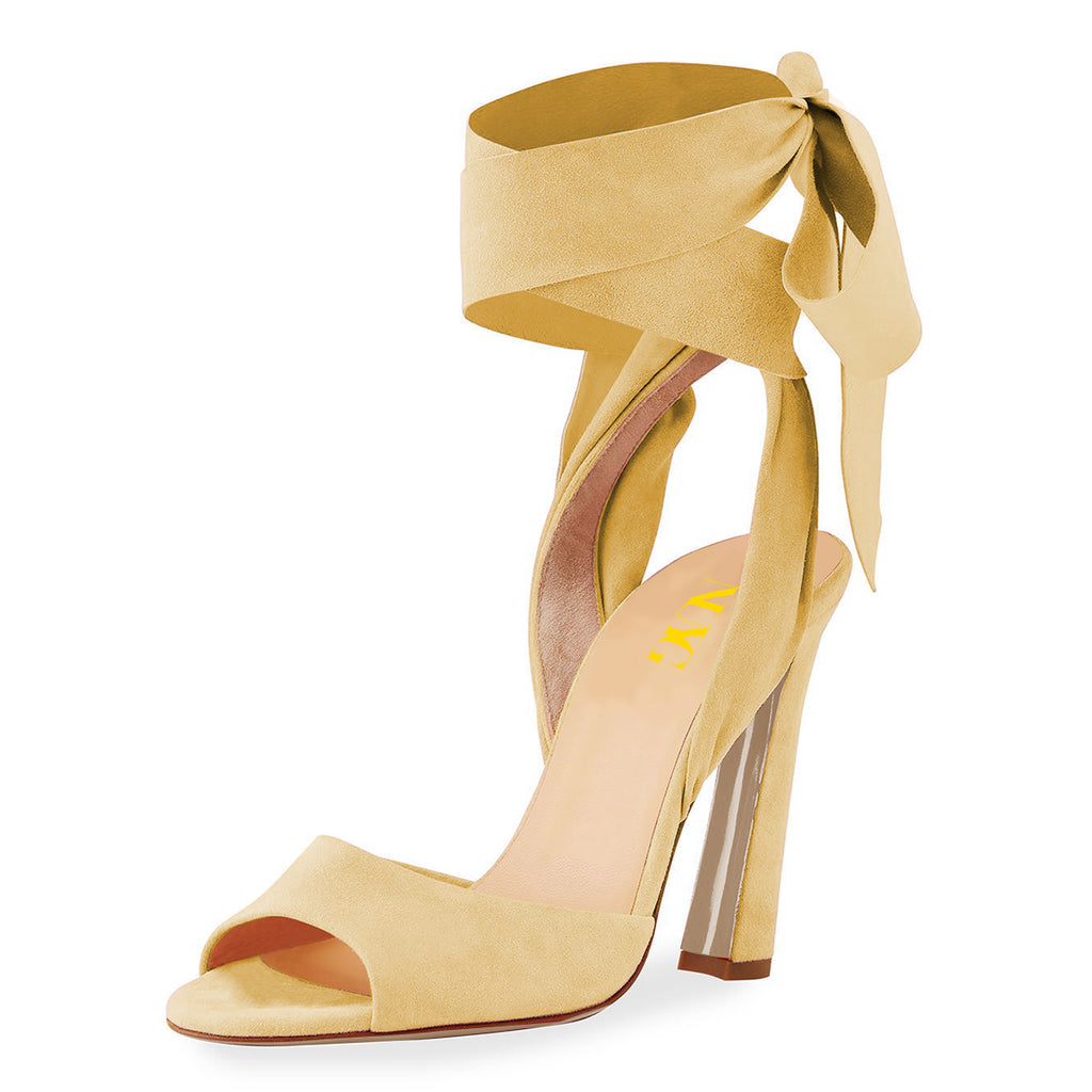 Yellow Suede Strappy Open Toe Chunky Heel Sandals