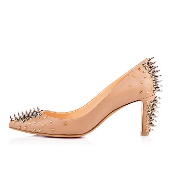 apricot-chunky-heels-pointy-toe-pumps-party-shoes-with-rivets