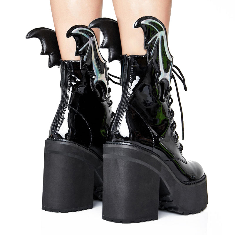 Patent Leather  Chunky Heel Boots #1