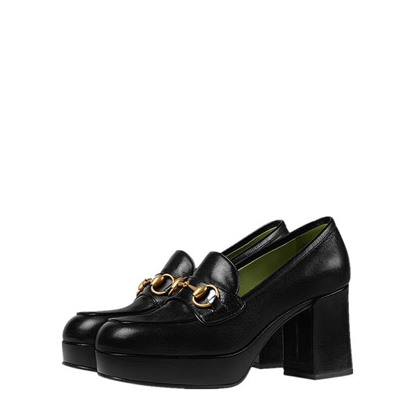 Matte Leather Chunky Heel Loafers
