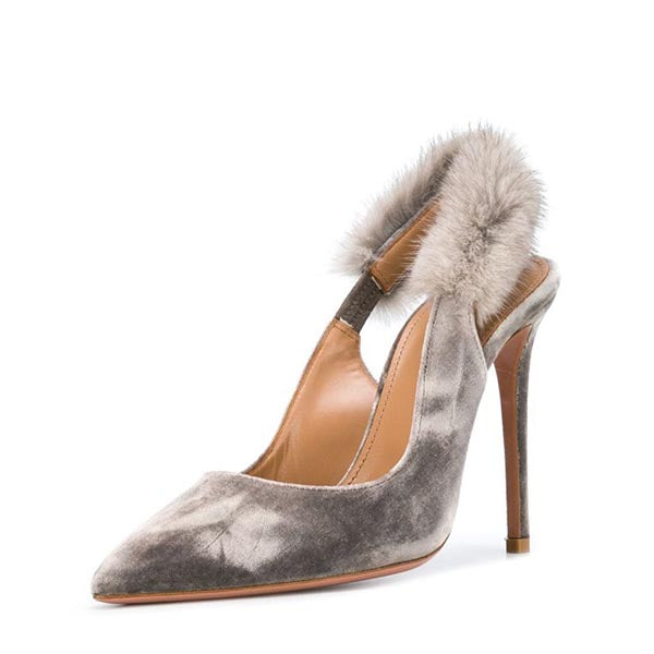 Taupe Furry Stiletto Slingback Pumps