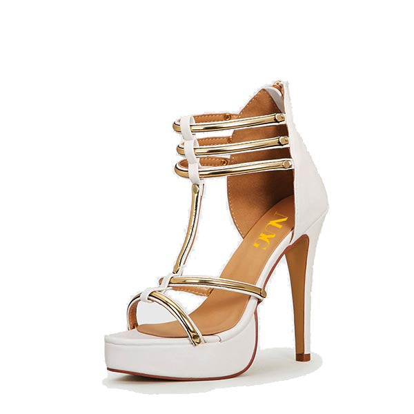 White Peep-toe Stiletto Heel Sandals