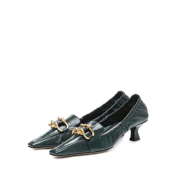 Green Stretch Kitten Heel Pumps