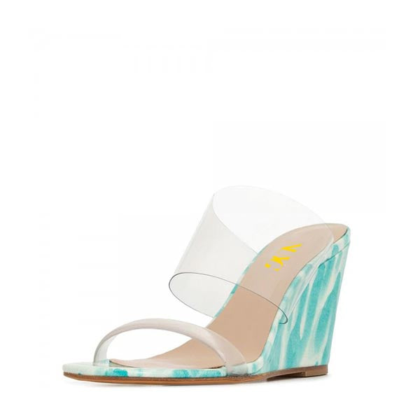 Cyan and Clear PVC Wedge Heel Mule Sandals