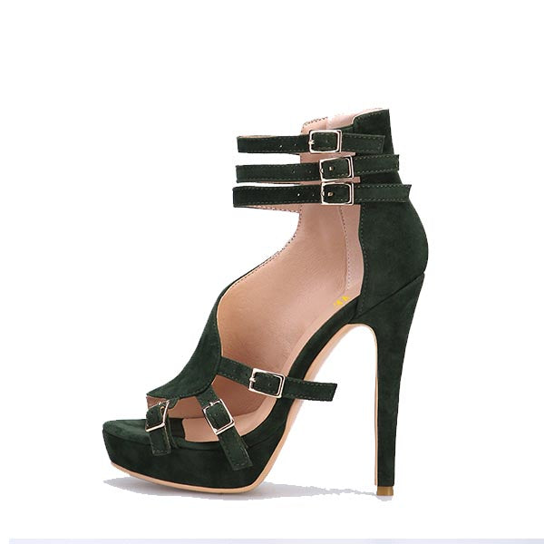 Buckle Suede Stiletto Heel Sandals