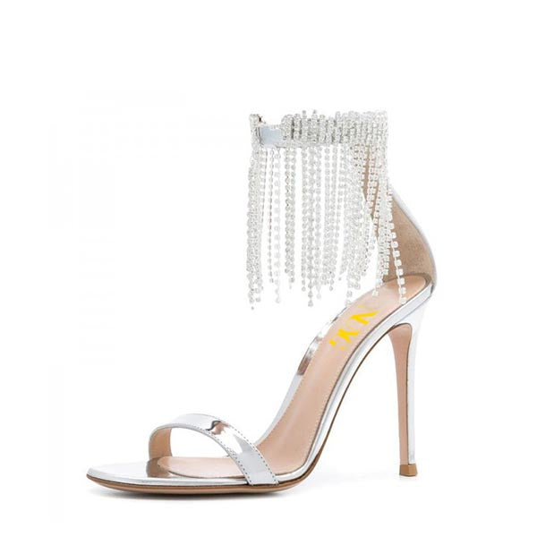 Metallic Rhinestones Stiletto Heel Sandals