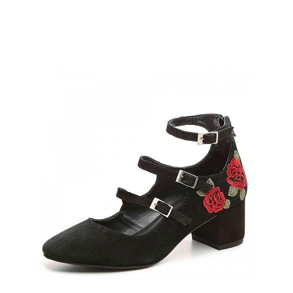 Flower Embroidered Mary Jane Shoes