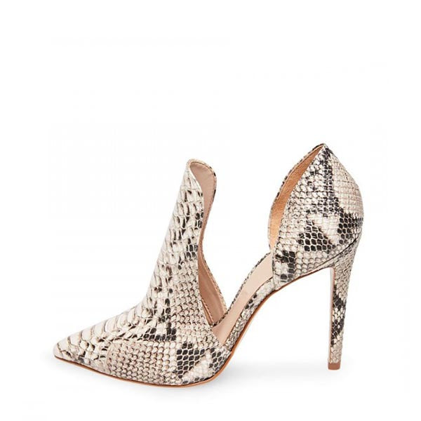 Snakeskin Print Stiletto Heel Pumps