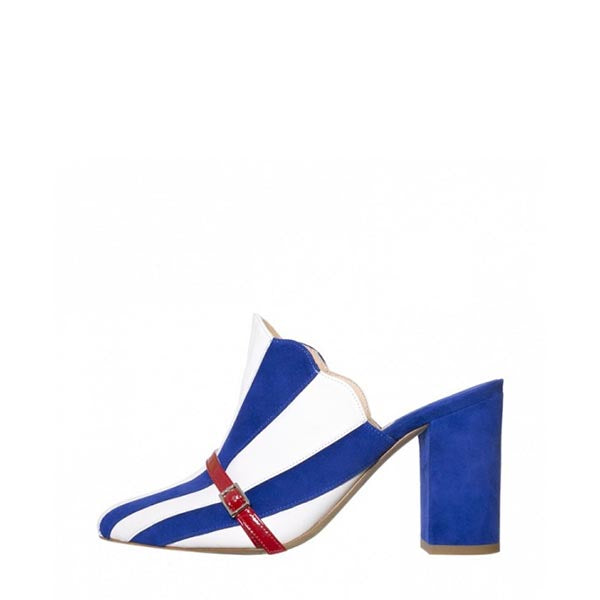 Stripes Chunky Heel Mules Sandals