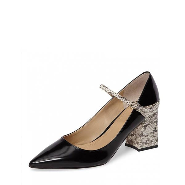 Python Print Patent Leather Pumps