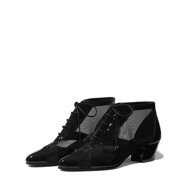 Black Mesh Patent Leather Boots