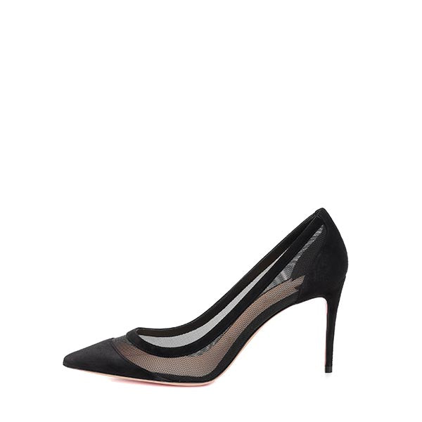Black Nets Commuting Stiletto Heel Pumps