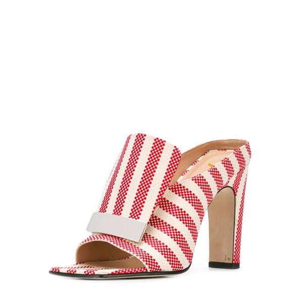 Stripes Chunky Heel Mule Sandals