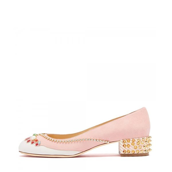 Suede Rhinestone Rivets Pumps