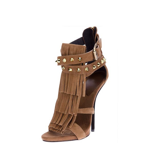 Rivets  Gladiator Fringe Sandals
