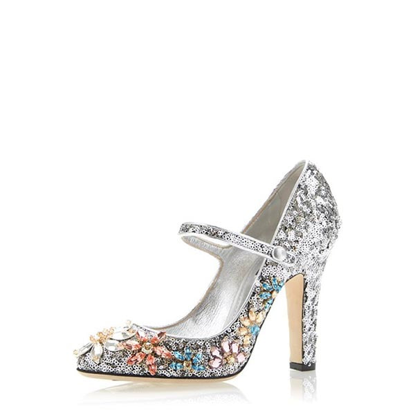 Sequined Rhinestone Mary Jane Pumps