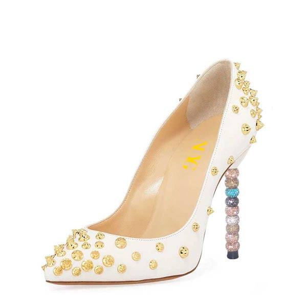 Gold Studs Stiletto Heel Pumps