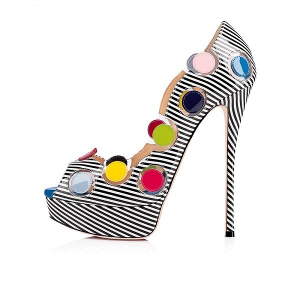 black-and-white-patent-leather-platform-heels-colorful-dots-pumps