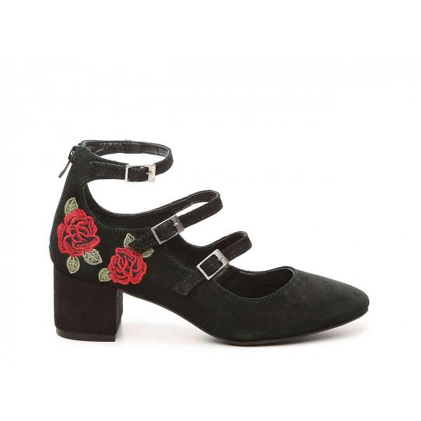 black-flower-embroidered-mary-jane-shoes-buckles-chunky-heel-pumps