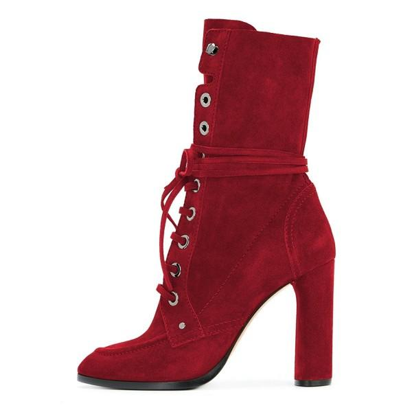 burgundy-buckle-chunky-heel-boots-suede-lace-up-square-toe-booties