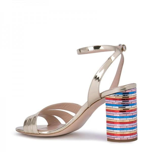 champagne-patent-leather-chunky-heel-ankle-strap-sandals