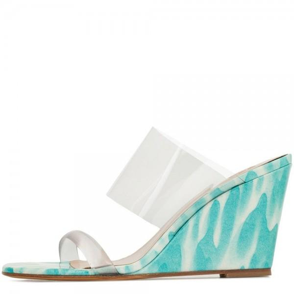 Clear PVC Wedge Heel Mule Sandals-3