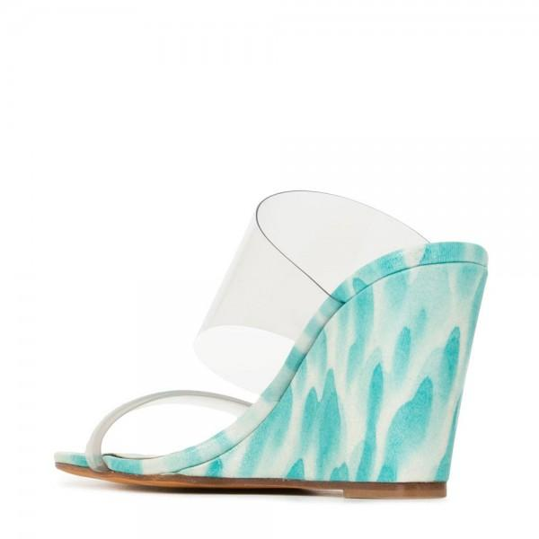 Clear PVC Wedge Heel Mule Sandals-2