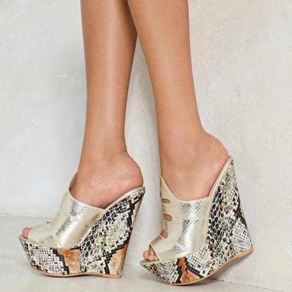 gold-python-peep-toe-mule-fashion-wedge-sandals