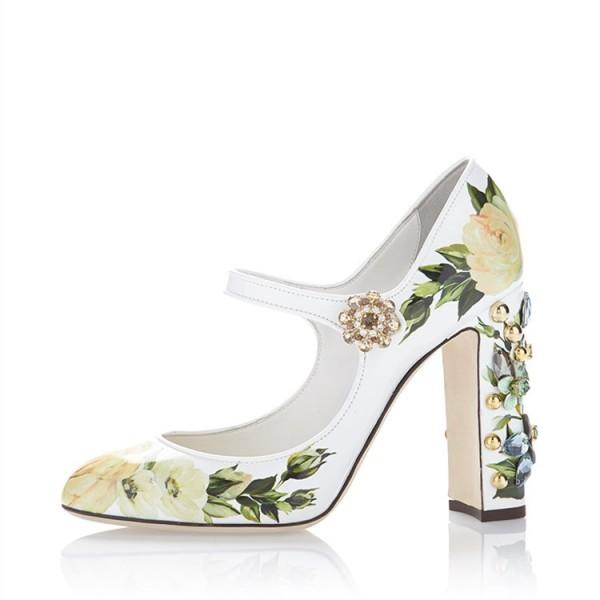 green-satin-floral-rhinestone-round-toe-chunky-heels-mary-jane-pumps