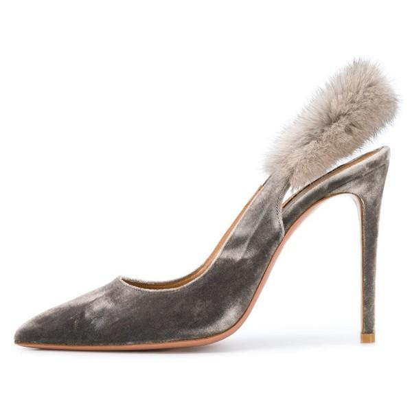grey-furry-stiletto-heels-slingback-pumps