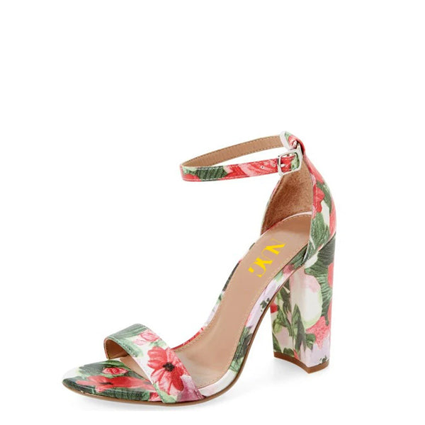 Floral Print Chunky Heel Sandals-1