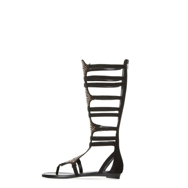Rhinestone Knee High Gladiator Sandals