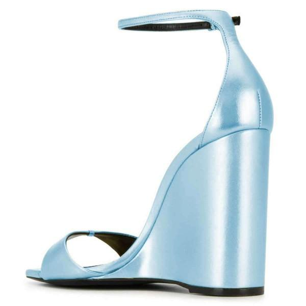 Light Blue Ankle Strap Wedge Sandals