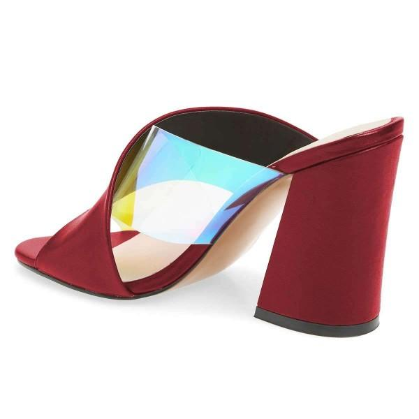 maroon-hologram-clear-mule-heels-cross-strap-sandals