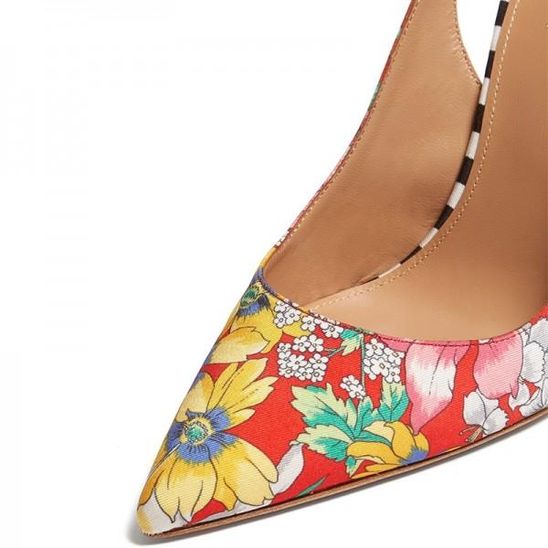 multicolor-satin-floral-heels-pumps