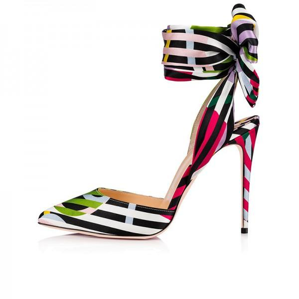 multicolor-strip-bow-ankle-strap-heels-pumps