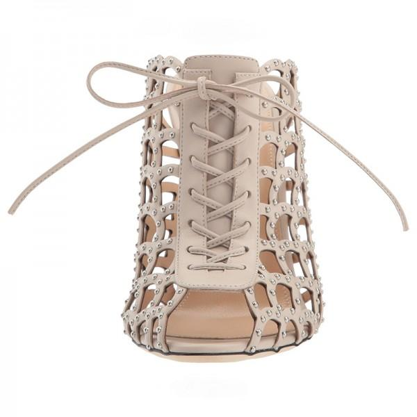 Caged Lace Up Mule Sandals-2