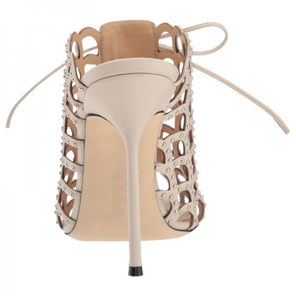 Caged Lace Up Mule Sandals-3