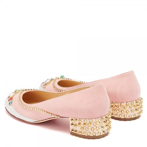 pink-and-white-suede-rhinestone-rivets-block-heels-pumps