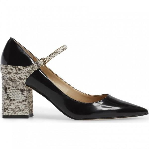 python-strap-mary-jane-pumps-black-patent-leather-pointy-toe-shoes