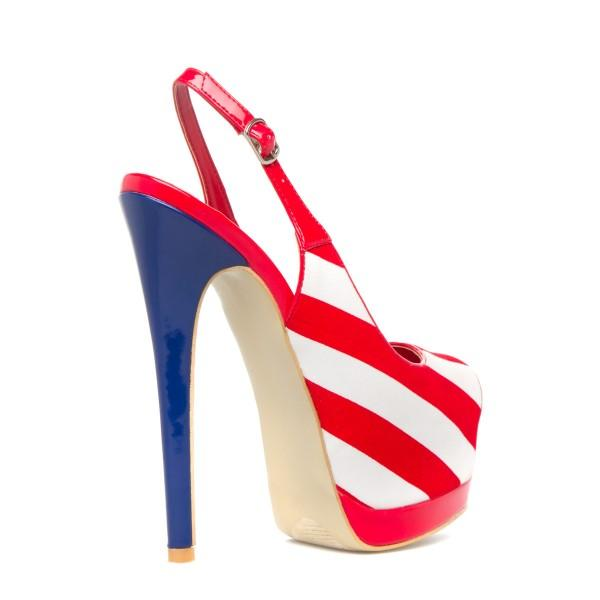 fashion-red-and-white-peep-toe-slingback-heels-stripe-platform-sandals